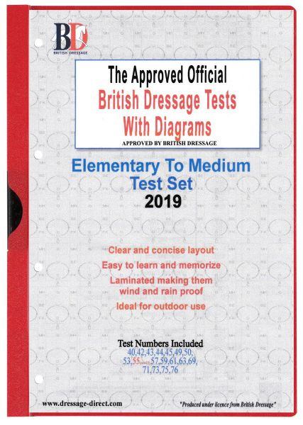 2019  ELEMENTARY TO MEDIUM TEST SET: Official Laminated British Dressage Tests with Diagrams